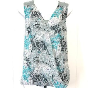 DANIEL RAINN Gray & Teal High Low Top Shirt ~sz M